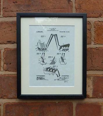 """USA Patent Drawing Vintage GOLF CLUB Mounted Matted PRINT art 10"""" x 8"""" 1914 Gift"""