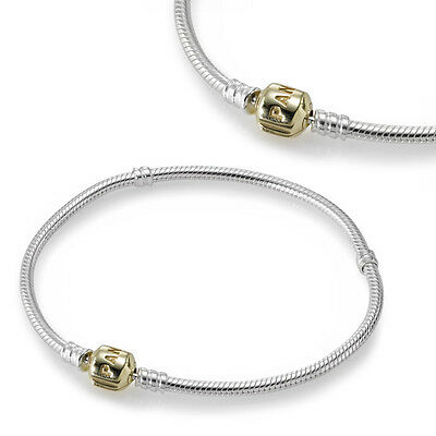 New Authentic Pandora Clasp Bracelet 590702HG-19 Sterling Silver & 14K Gold 7.5""
