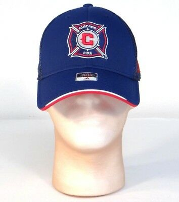 b83a417214b Adidas MLS Chicago Fire Navy Blue Mesh Back Baseball Cap Hat Flex Mens S M