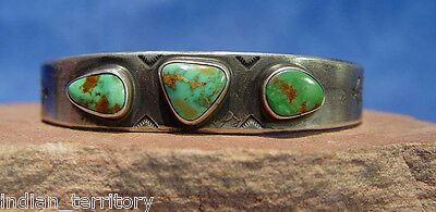 "Navajo Ingot Silver Bracelet w/3 Green Turquoise Cabachons, Fits up to 8"" wrist"