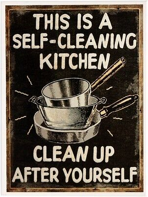 This is a Self-Cleaning Kitchen  Kühlschrank Magnet 6x8 cm Tin Sign EMAG271