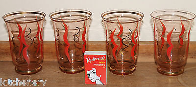 Red Gold Etched Swirl Glasses Tumblers Fine Glass Water Set 4 Vintage 1930s 40s