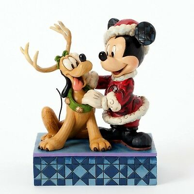 "DISNEY-Skulptur - Jim Shore Figur 4039033 ""MICKEY & PLUTO - SANTA`S BEST FRIEND"""