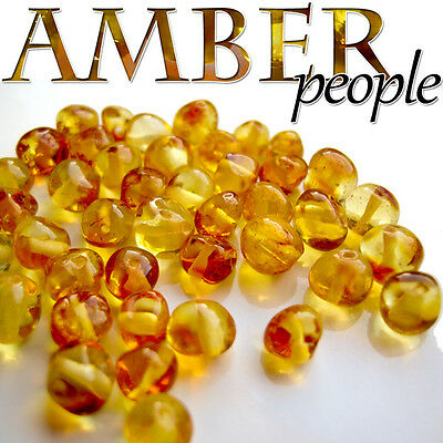 Authentic Baltic Amber Holed Loose Rounded Beads 5g * Champagne Colour*