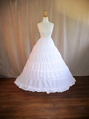 Renaissance-Civil War-Victorian 1800's White Cotton 6 Ring HoopSkirt A-line Full