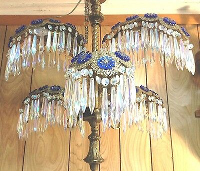Very Beautiful Antique Palm Fronds Chandelier 6 Light & Aurora Borealis Crystals