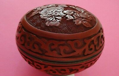 Antique Vintage Chinese Carved Red Lacquer Cinnabar Box Case  - China