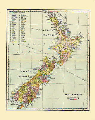 1903 Color Map of NEW ZEALAND, Each then existing county shown