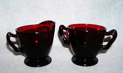 Anchor Hocking Royal Ruby Creamer and Sugar Bowls Deperssion Glass