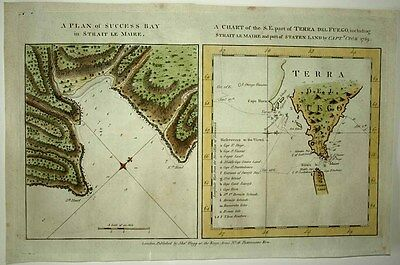 1784 COOK 2 Charts TIERRA DEL FUEGO Coastal Profiles Le Maire Strait Success Bay