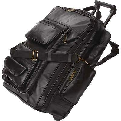 Black 21'' Leather Rolling Trolley Backpack Wheel Cart Travel Luggage Tote Bag