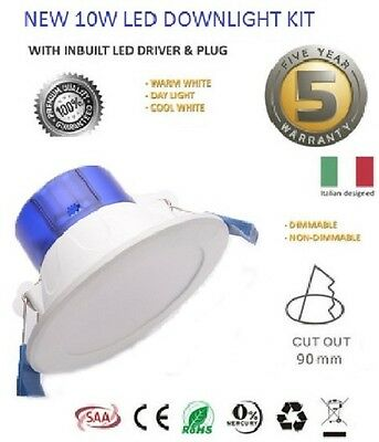 ITALIAN 10 x 10W LED DOWNLIGHT KIT WARM COOL WHITE SATIN FRAME DIMMABLE NON DIM