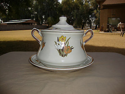 Retro California Pottery Crocus Flower 3pc Soup Tureen With Under Plate #1038