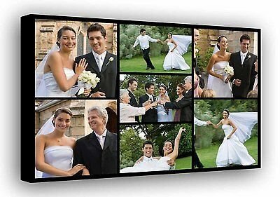 Personalised Photo Collage Printed - framed canvas ready to hang - 7 photos f103