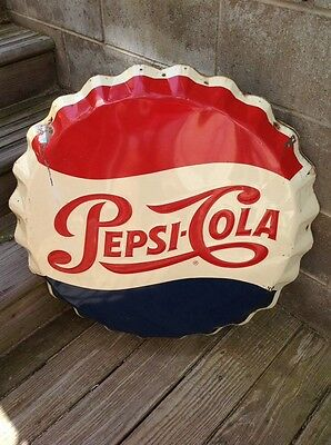 Rare Vintage 1950's Pepsi-Cola Embossed Round Bottle Cap Button Stout Sign LOOK!