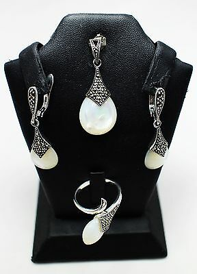 Marcasite Earring Pendant Ring Set 925 Sterling Silver Jewelry