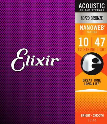 Elixir 11152 Acoustic 80/20 Bronze 12-String Light Guitar Strings Nanoweb 10-47