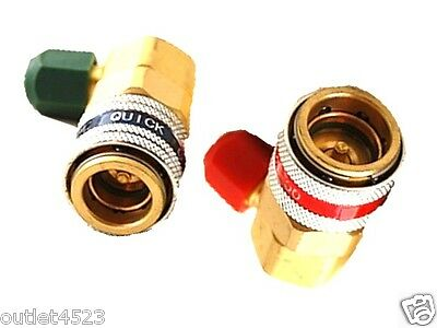 A  A/C Auto Set Kit of 2 Quick Couplers Connectors Adapters R134A High low