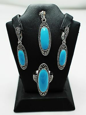 Turquoise Ring Earring Pendant Marcasite Set 925 Sterling Silver Jewelry