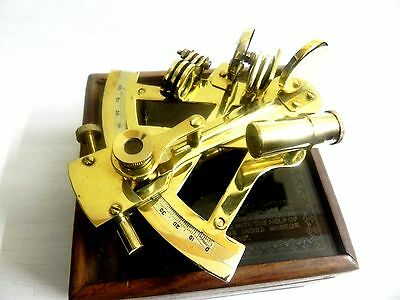 NAUTICAL MARITIME ~ BRASS SEXTANT W/ WOODEN BOX ~ SEXTANT ASTROLABE 5""