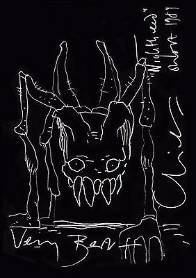 Clive Barker drawing horror author PP autographed print 11.5 x 8 FREE UK P&P! C