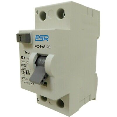 100mA RCD 63A 80A trip safety switch RCCB double pole 63 or 80 amp 230V DP new