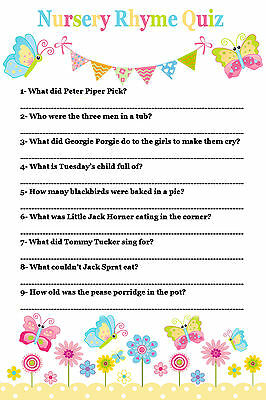 Nursery Rhyme Quiz Game Baby Shower 20 Sheets Players Boy Girl