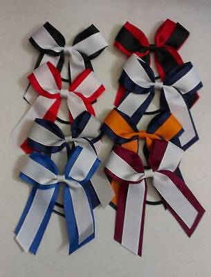 Girl's Cheer Bows Handmade Elastic Band Popular school Colors FREE Shipping #H25