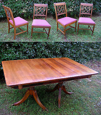"""1930's Antique Mahogany Dining Table 42""""x62"""" and 4 Chippendale style Chairs"""