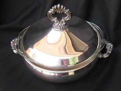 FB Rogers Silver Plate Round Covered Vegetable Server with Pyrex Dish No: 1543