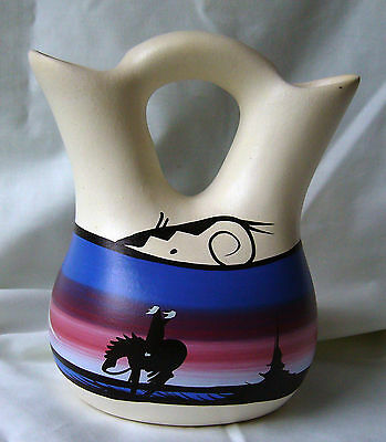 Native American Navajo Pottery Wedding Vase signed by M Begay