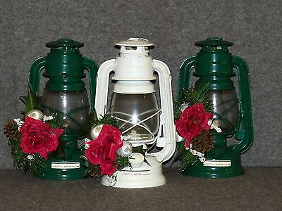 9.5in Holiday Paraffin Oil Indoor/Outdoor Railroad Lantern Set (3) - NEW
