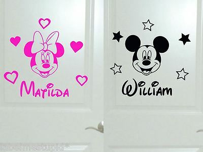Small Minnie Mouse Mickey Mouse Heads Wall Stickers Bedroom Door with Name