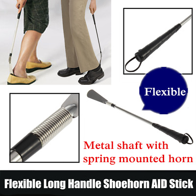Flexible Long Handle Shoehorn Shoe Horn AID Stick Silver Stainless Steel OK