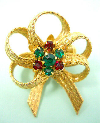 Bow Pin Brooch Red Green Rhinestones Prongs Center Gold Tone Texture Weave Vntg