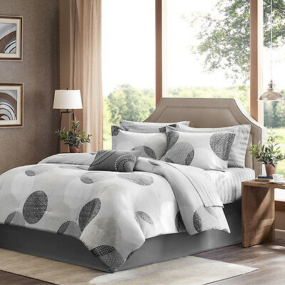 BEAUTIFUL MODERN CHIC BLACK TAUPE TAN BEIGE ABSTRACT GREY COMFORTER SET /& SHEETS