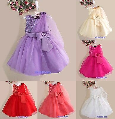 Girls Flower Formal Wedding Bridesmaid Party PROM Christening Dress(13)