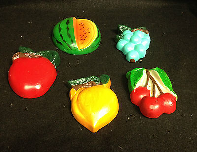 "LOT OF 5 MID CENTURY CHALKWARE FRUIT PLAQUES 3 1/2"" SEE PICTURES #A"