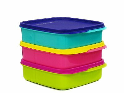 Tupperware 3X Kids Lunch-It Containers Lolly Tup 550ml in Purple , Blue & Pink