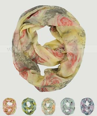 Oil Paint Rose Floral Block Circle Loop Wrap Infinity Scarf Multi Color Soft