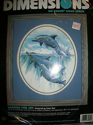 Dimensions Leaping For Joy Dolphins No Count Cross Stitch Kit