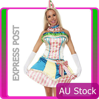 Sexy Funny Clown Costume Circus Carnival Fancy Dress Birthday Party Outfit