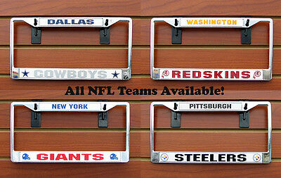 NFL NEW Car/Truck Metal Chrome License Plate Tag Frame Holder - CHOOSE YOUR TEAM