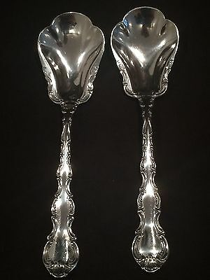 Pair Of Sterling Silver Sugar Spoons By Gorham In The Strasbourg Pattern