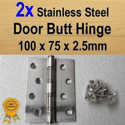 2x Door Butt Hinges Ball Bearing - Stainless Steel