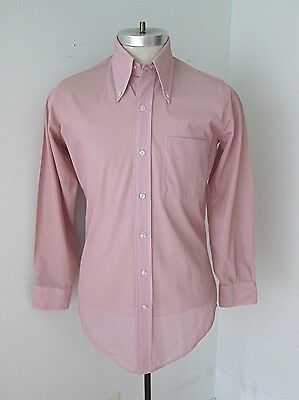 Vtg 70s Mod Red Micro Dot Sheer Poly Nylon Disco Pimp Dress Shirt Fitted M