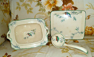 ROYAL DOULTON KINGFISHER SERVING LADEL TUREEN & STAND ART DECO HAND PAINTED VGC