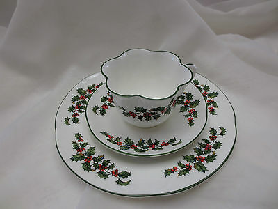 Crown Staffordshire TRIO Cup Saucer CRS22 Christmas Holly Red Berries Bone China
