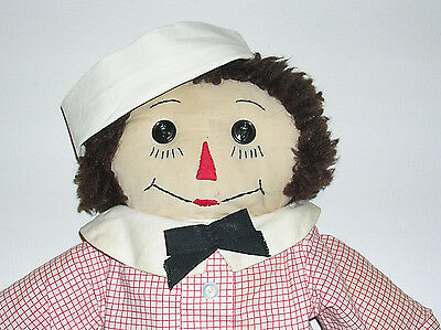 """Vintage 1950's Hand Made 20"""" Raggedy Andy Doll With Plaid Stockings"""