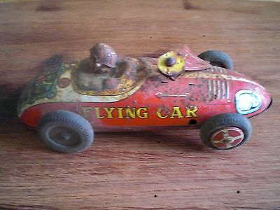 Old Vintage Tin Friction Toy Flying Race Car 1950s Japan Sold AS IS